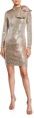 Badgley Mischka Ombre Sequin Bow-Shoulder Long-Sleeve Dress