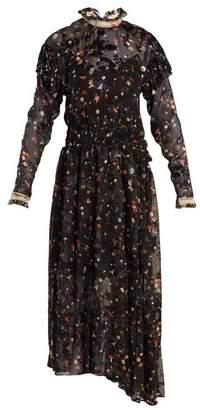 Preen by Thornton Bregazzi Olivia Truffle-print Silk-blend Devore Dress - Womens - Black Multi