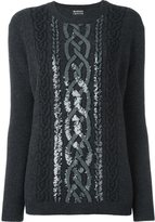 Markus Lupfer sequined cable jumper - women - Wool/Polyester - XS