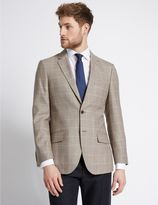 Marks and Spencer Wool Rich Checked Regular Fit Jacket
