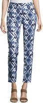 MICHAEL Michael Kors Skinny Geometric-Print Pants, Real Navy