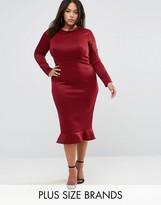 Club L Plus Office Long Sleeve Detailed Dress w. Peplum Frill Hem Bodycon Midi Dress