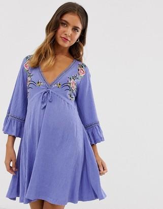 Asos Design DESIGN mini embroidered smock dress with ladder trim-Blue