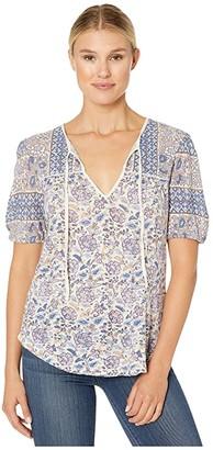 Lucky Brand Printed Short Sleeve Henley Top (Lavendar Multi) Women's Clothing