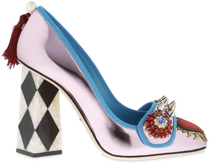 Dolce & Gabbana 100mm Embellished Mirror Leather Pumps