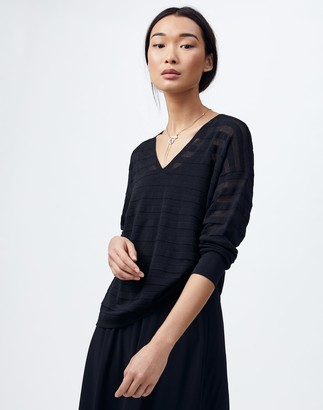 Lafayette 148 New York Finespun Voile Sheer Stripe V-Neck Sweater