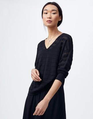 Lafayette 148 New York Petite Finespun Voile Sheer Stripe V-Neck Sweater