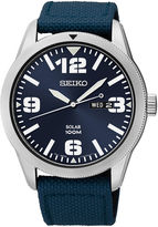 Seiko Mens Blue Nylon Strap Solar Watch SNE329