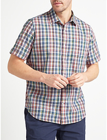 John Lewis Mini Grid Check Short Sleeve Shirt, Multi