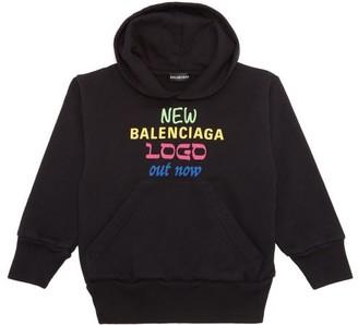 Balenciaga Kids Unisex New Logo Cotton-blend Hooded Sweatshirt - Black Multi