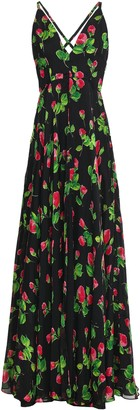 Milly Floral-print Silk-voile Halterneck Maxi Dress