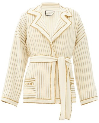 Gucci Lurex-striped Wool-blend Belted Cardigan - Womens - Ivory