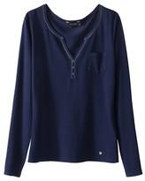 Kaporal 5 Plain Long-Sleeved T-Shirt with Grandad Collar