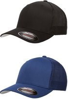 Flexfit Flex fit Trucker Cap - 6511 - (2Pack) 1-Solid Black & 1-Solid Royal Blue