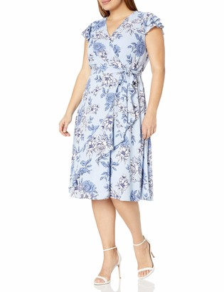 Jessica Howard Women's Size Butterfly Sleeve Dress with Ruffle Wrap Skirt and Tie Sash