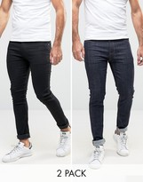 Asos Super Skinny Jeans 2 Pack In Black & Blue Raw SAVE