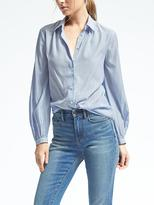 Banana Republic Easy Care Stripe Ruched-Neck Blouse