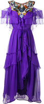 Alberta Ferretti cut-out shoulders ruffled dress - women - Silk - 40