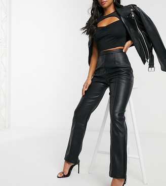 4th + Reckless Petite pu flare trouser with side split detail in black