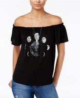 Hybrid Juniors' To The Moon Off-The-Shoulder Graphic Top
