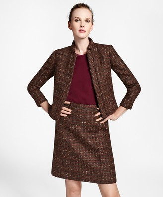 Brooks Brothers Checked Boucle Tweed Cropped Jacket