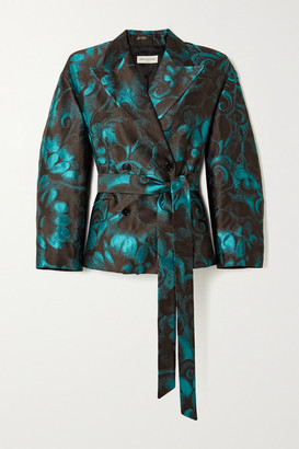 Dries Van Noten Belted Double-breasted Floral-jacquard Blazer - Turquoise