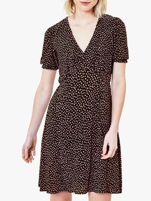 Oasis Animal Print Tea Dress, Black/Multi