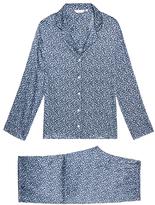 Derek Rose Esme Navy Floral Print Silk Pyjama Set
