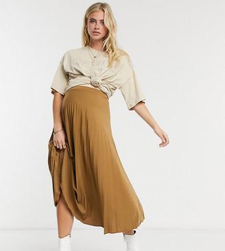 ASOS DESIGN Maternity pleated midi skirt in tan marl