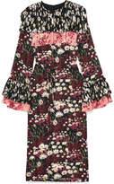 Mother of Pearl Anner Pleated Floral-print Silk-blend Georgette Midi Dress - Black