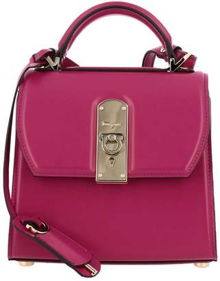 Salvatore Ferragamo Handbag Boxyz Small Bag In Smooth Leather With Metal Padlock