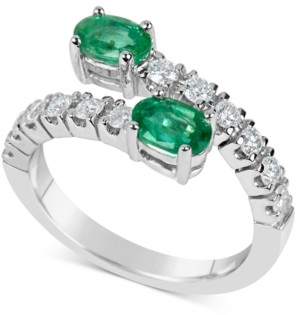 Macy's Emerald (1 ct. t.w.) and Diamond (1/2 ct. t.w.) Bypass Ring in 14k White Gold
