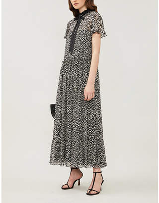RED Valentino Leopard-print flared-skirt silk-crepe midi dress
