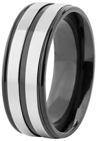 Ring Black West Coast Jewelry Men's Titanium Plated Grooved Ring - Black