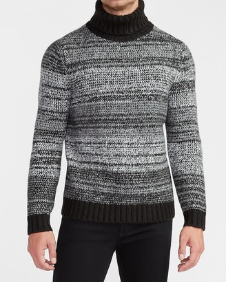 Express Cozy Marled Stripe Turtleneck Sweater