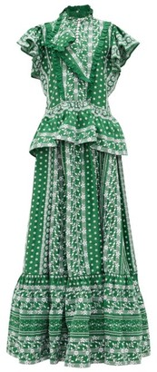 Erdem Feliciana Floral-embroidered Cotton-poplin Gown - Green White