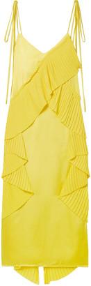 Kenzo Pleated Ruffled Crepe And Satin Midi Dress