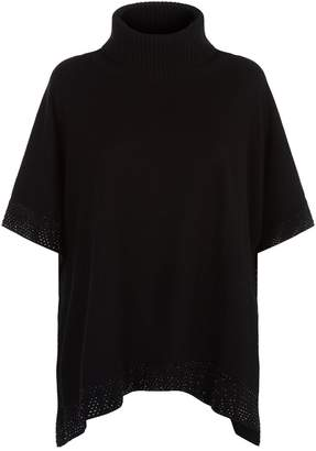 William Sharp Embellished Edge Turtleneck Poncho