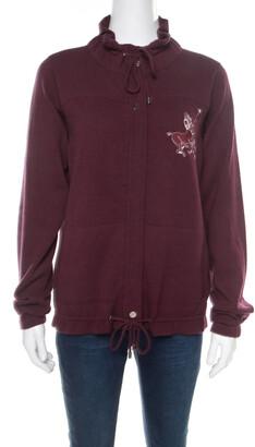 Chanel Burgundy Polo Centaur Embroidered Zip Front Jacket M