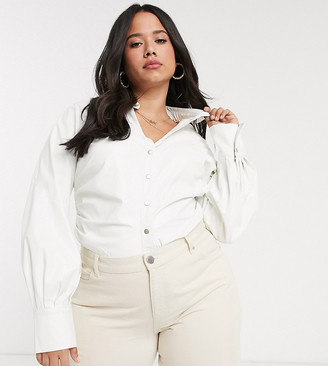 Skylar Rose Plus fitted shirt with tuck sides-White
