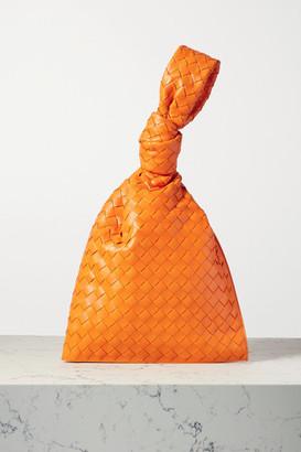 Bottega Veneta Twist Knotted Intrecciato Leather Clutch - Orange