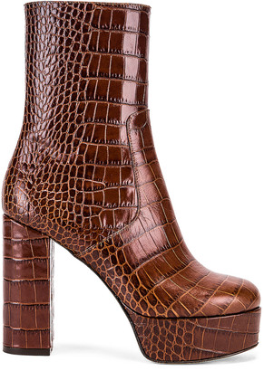 Paris Texas Moc Croco Platform Ankle Boots in Brown | FWRD