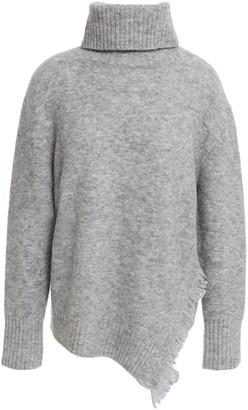 3.1 Phillip Lim Asymmetric Fringed Melange Knitted Turtleneck Sweater