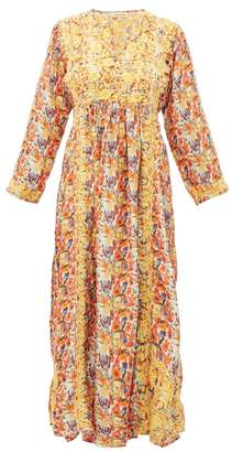 Muzungu Sisters - Poppy Embroidered Silk Maxi Dress - Womens - Orange Multi