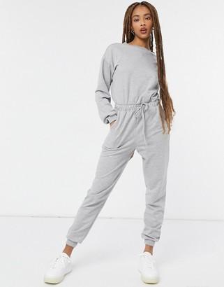 ASOS DESIGN lounge sweat jumpsuit in gray heather
