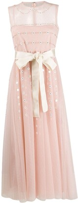 RED Valentino sheer detail floral dress