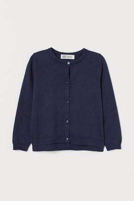 H&M Fine-knit Cotton Cardigan - Blue