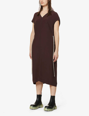 Rick Owens Island drawstring-waist crepe-silk dress