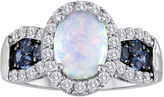 JCPenney FINE JEWELRY Lab-Created Opal, Genuine Blue Topaz and Lab-Created White Sapphire Ring