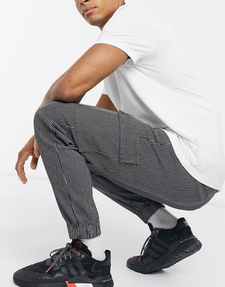 Liquor N Poker cargo trousers with grey and white pinstripe